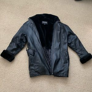 Vintage Leather Fur Lined Coat